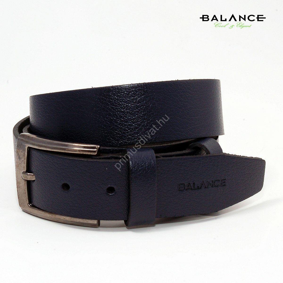 Balance nyelves csatos egyrétegű sötétkék bőr öv, márkafelirattal