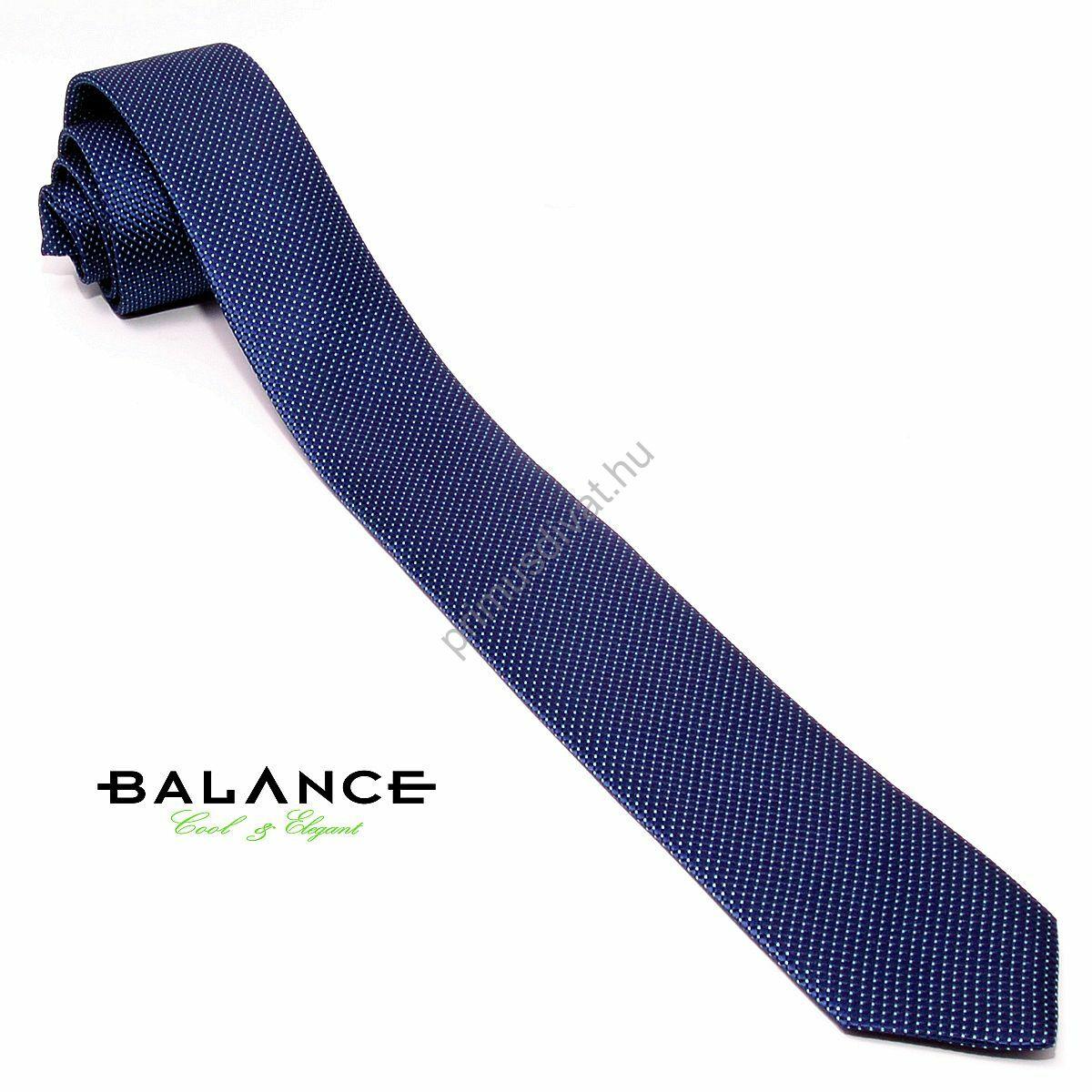 978b93f9f2 Kép 1/1 - Balance apró fehér pöttyös sötétkék keskeny selyem nyakkendő
