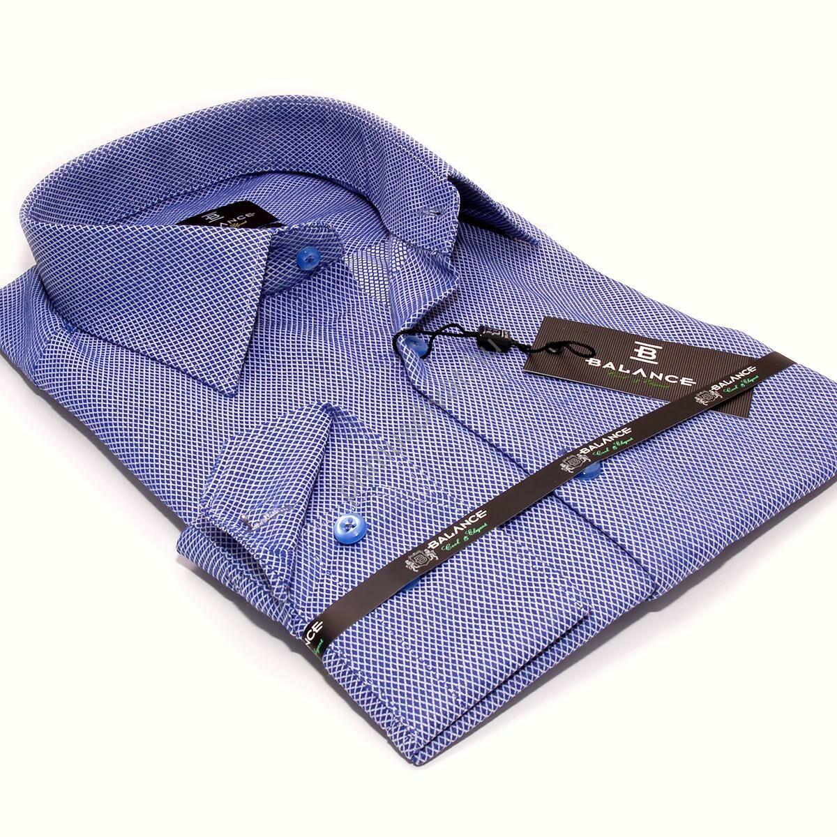 73fd830f82 Kép 1/4 - Balance szövött apró rombusz mintás slim-fit, karcsúsított hosszú  ujjú kék ing