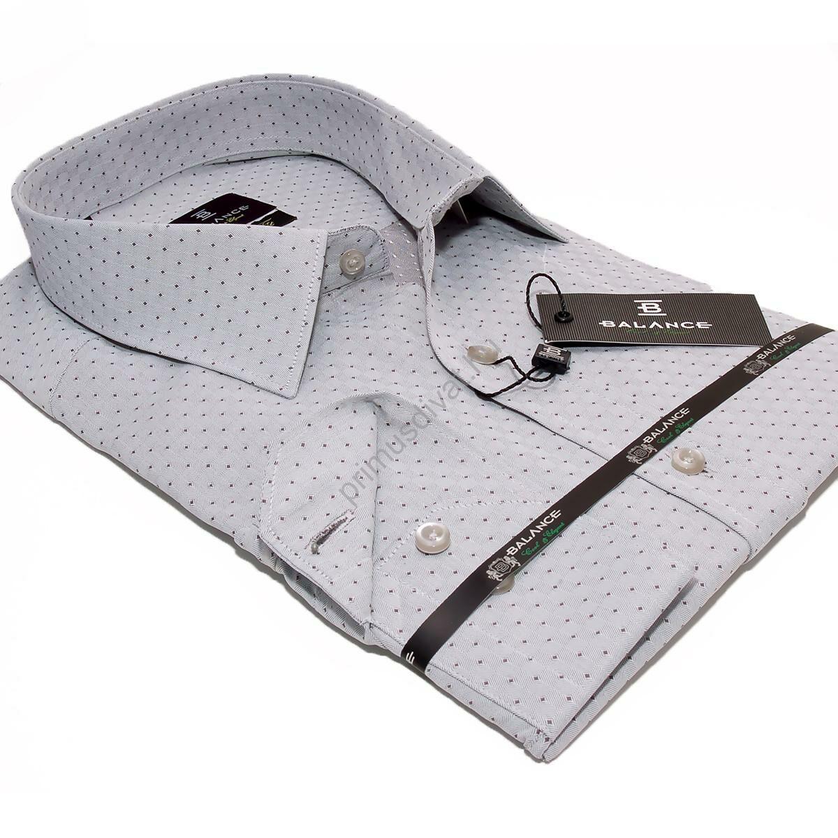 6a0c895923 Kép 1/4 - Balance szövött apró mintás slim-fit, karcsúsított fazonú hosszú  ujjú szürke ing