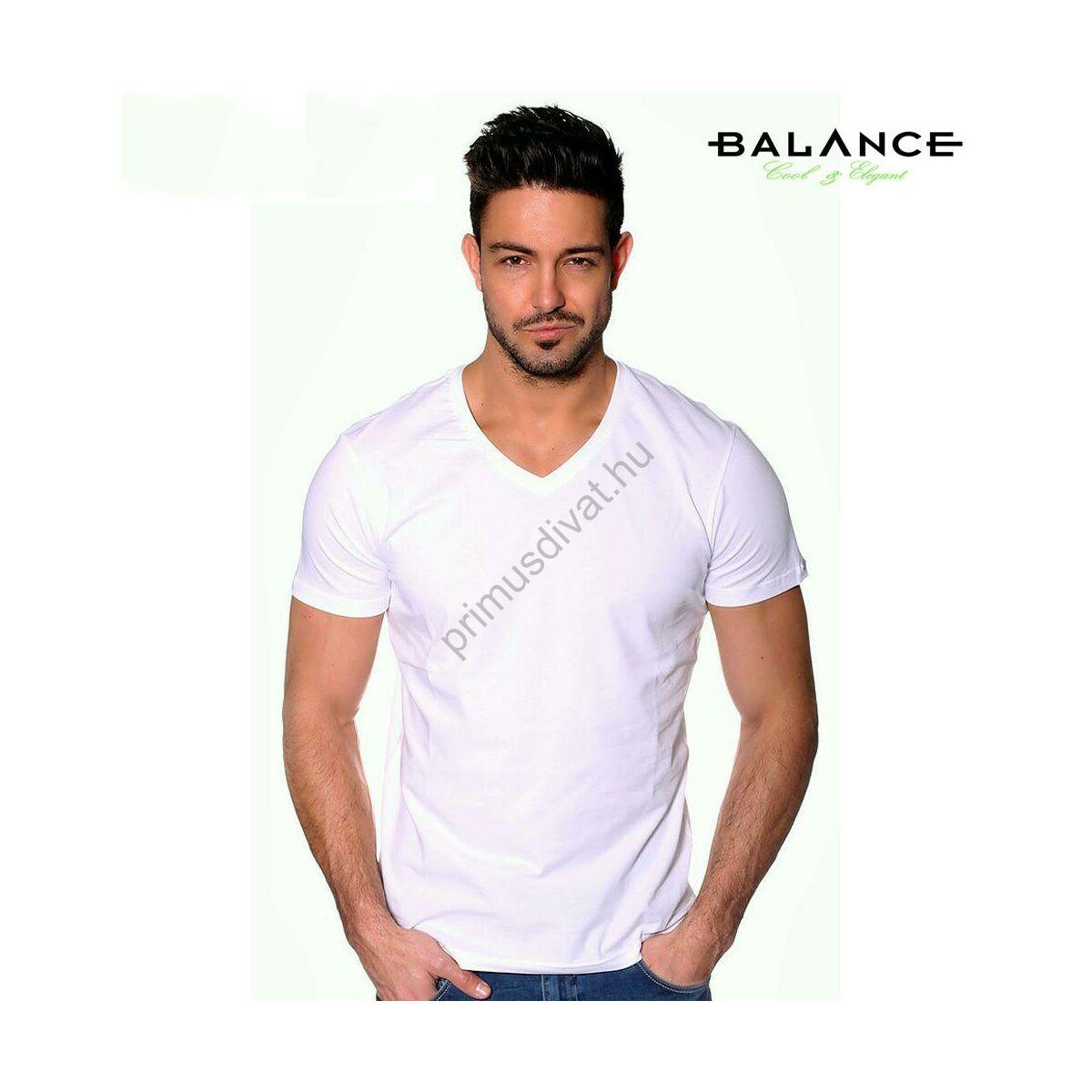 6361b0d758 Kép 1/2 - Balance V-nyakú, rugalmas anyagú rövid ujjú póló, ujján fém  márkafelirattal, fehér