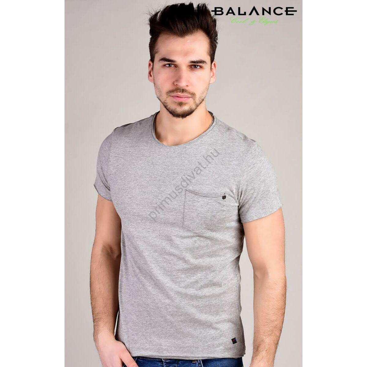 249739b06a Balance kis zsebes szürke melange anyagú rövid ujjú póló, felpöndörödő  szélű nyakkal