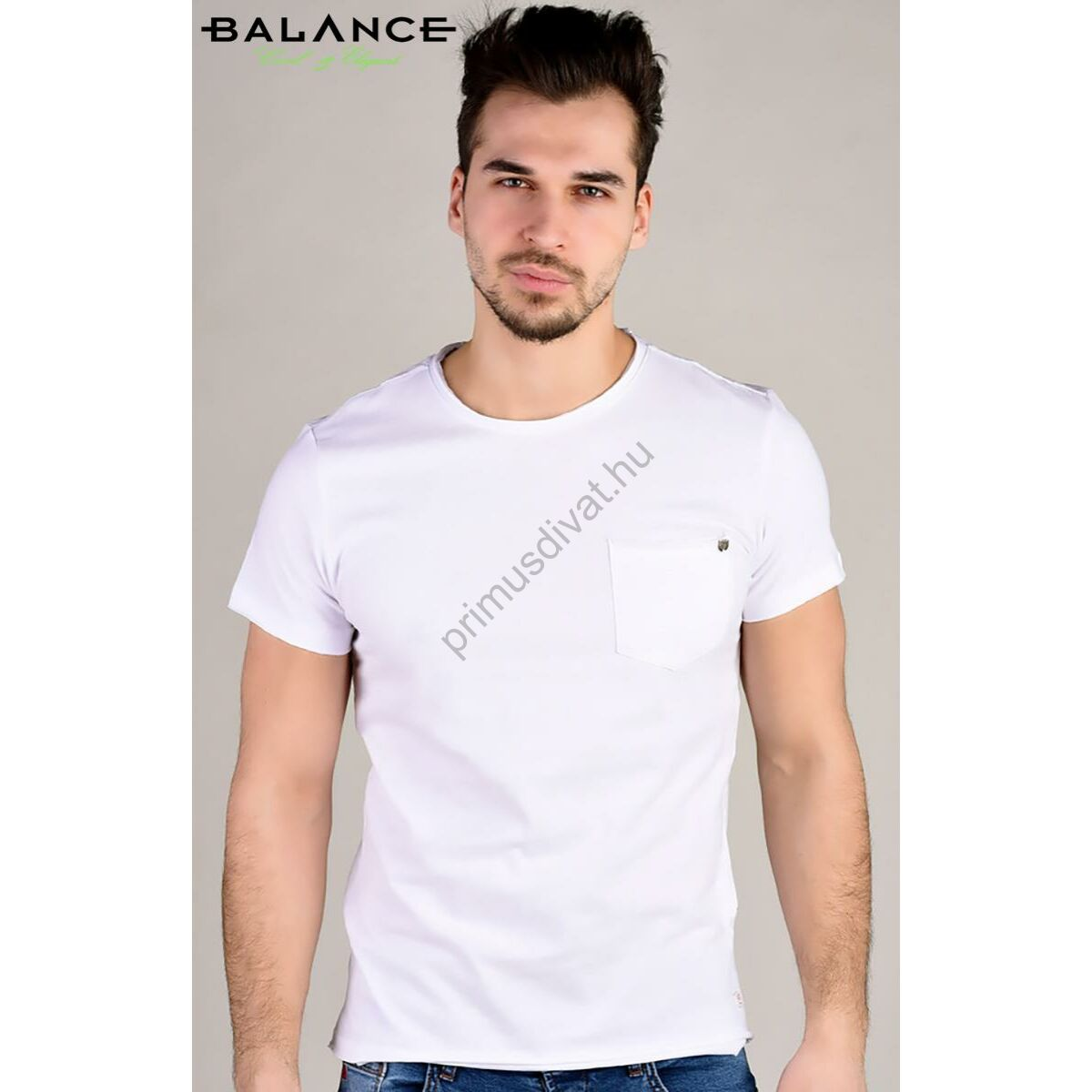 Balance kis zsebes fehér rövid ujjú póló felpöndörödő nyakkal f48b259c74