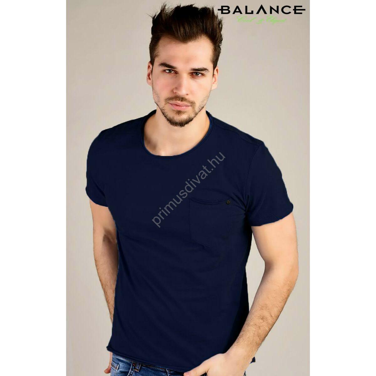Balance kis zsebes sötétkék rövid ujjú póló felpöndörödő nyakkal 7d900e9724