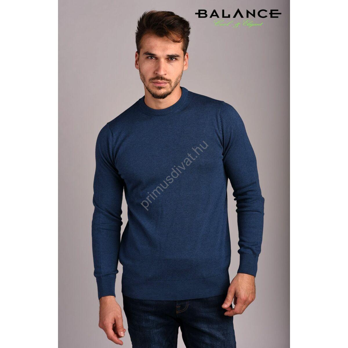Balance vékony kötött környakas pamut pulóver, sötétkék-melange