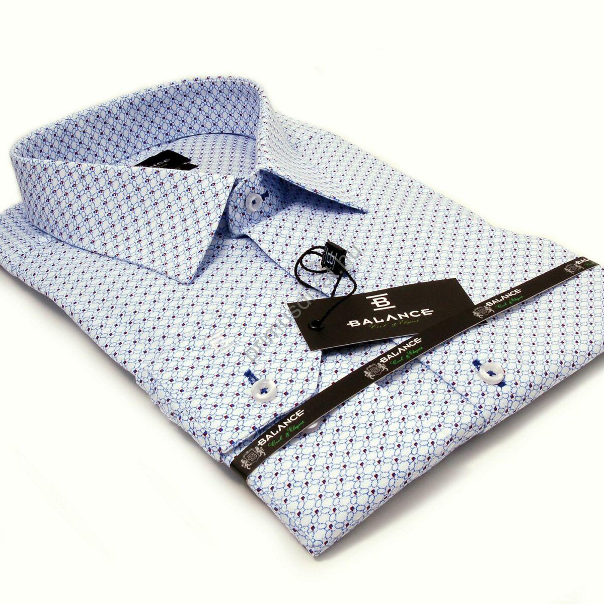 1b0ba921ba Balance rugalmas anyagú kék-bordó mintás fehér karcsúsított body-fit hosszú  ujjú ing