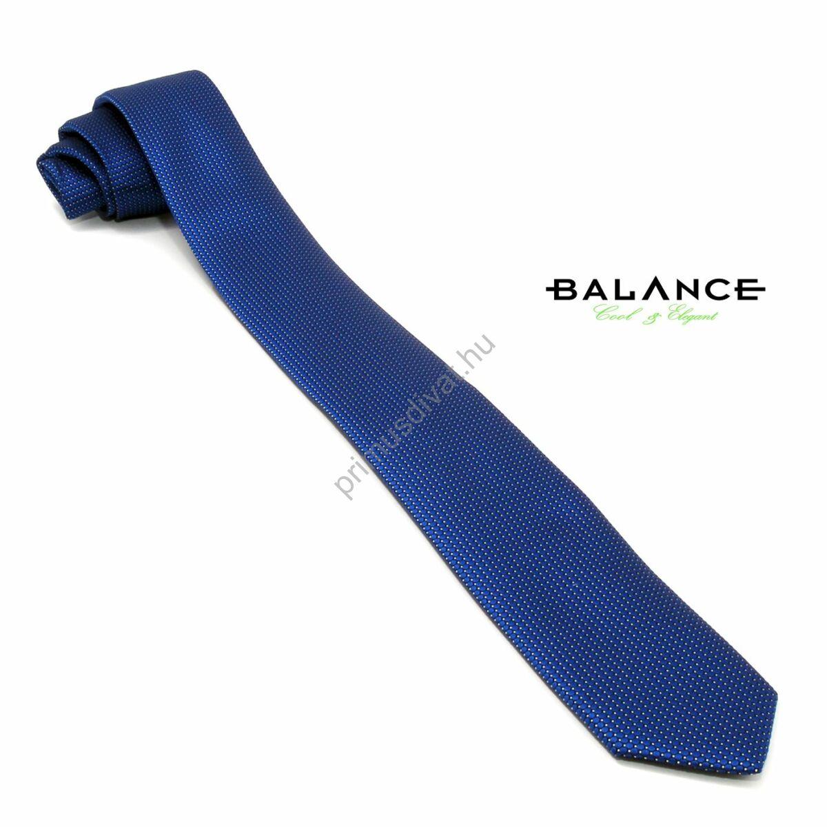 Balance apró fehér pöttyös középkék keskeny selyem nyakkendő