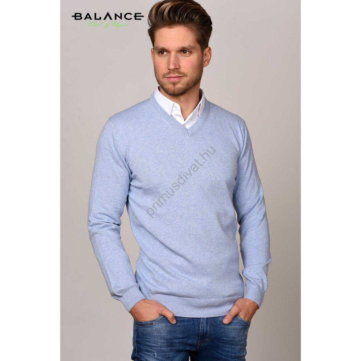 Balance vékony kötött V-nyakú pamut pulóver, vízkék-melange