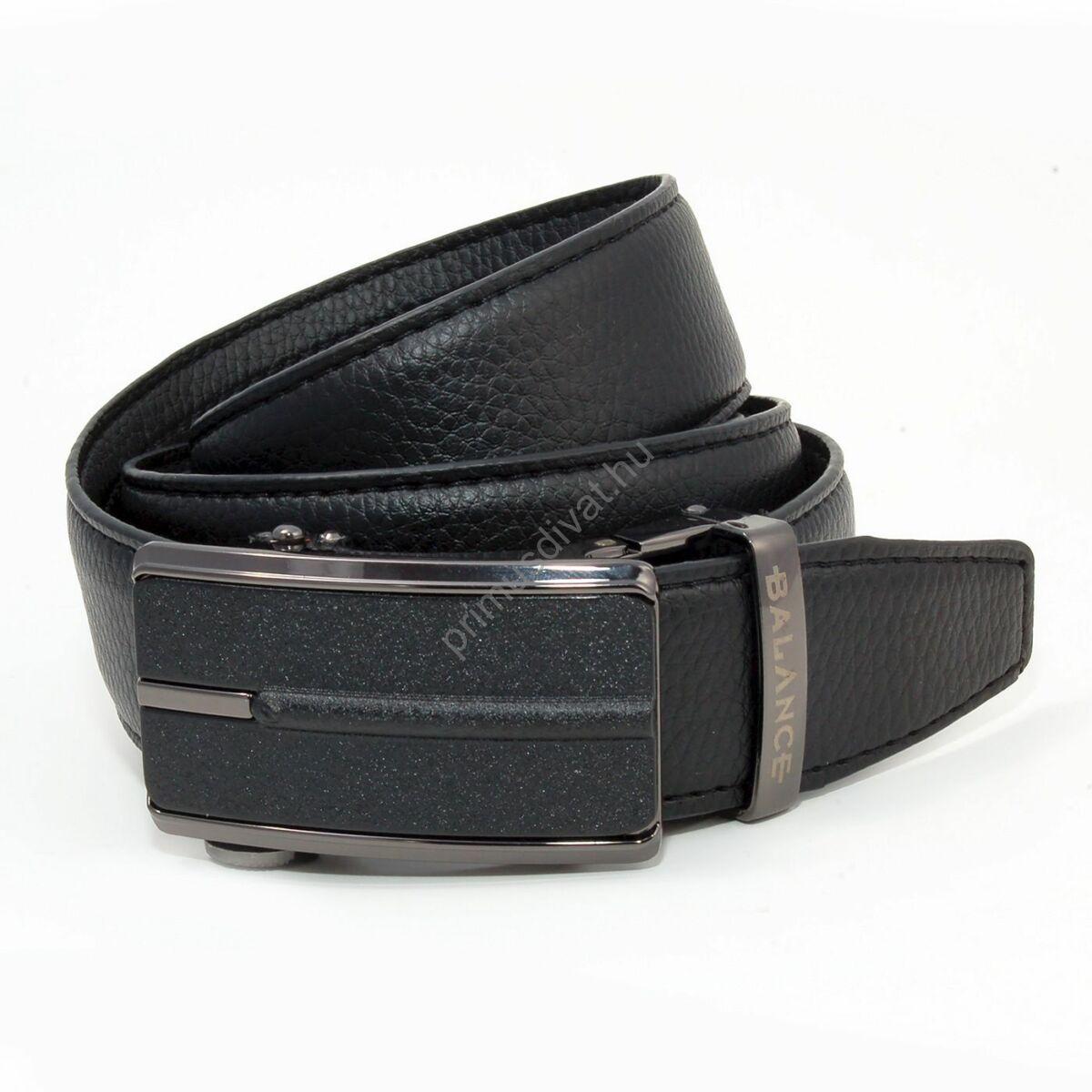 Balance racsnis záródású, varrott fekete bőrszíjas, gravírozott bújtatójú fekete műanyag betétes antikolt hatású fém csatos öv