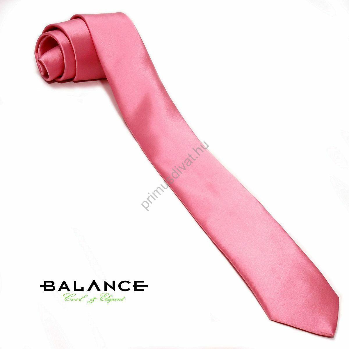 Balance mályva rózsaszínű keskeny selyemszatén nyakkendő