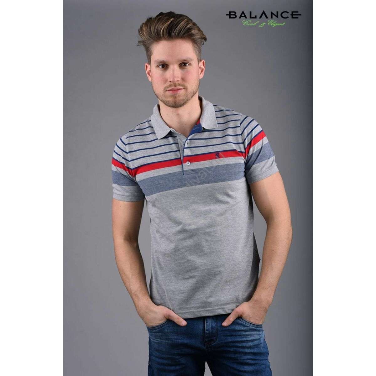 Balance kék-piros csíkos szürke, galléros-gombos rövid ujjú Cliff piké póló