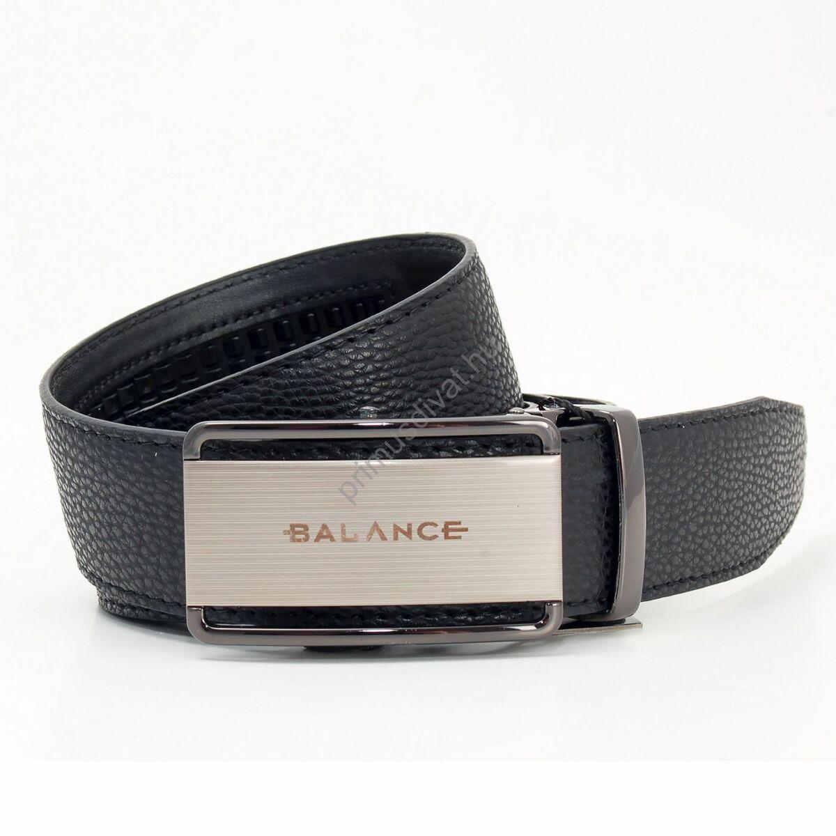 Balance racsnis záródású, varrott fekete bőrszíjas, csiszolt hatású, kivágott, gravírozott fém csatos öv