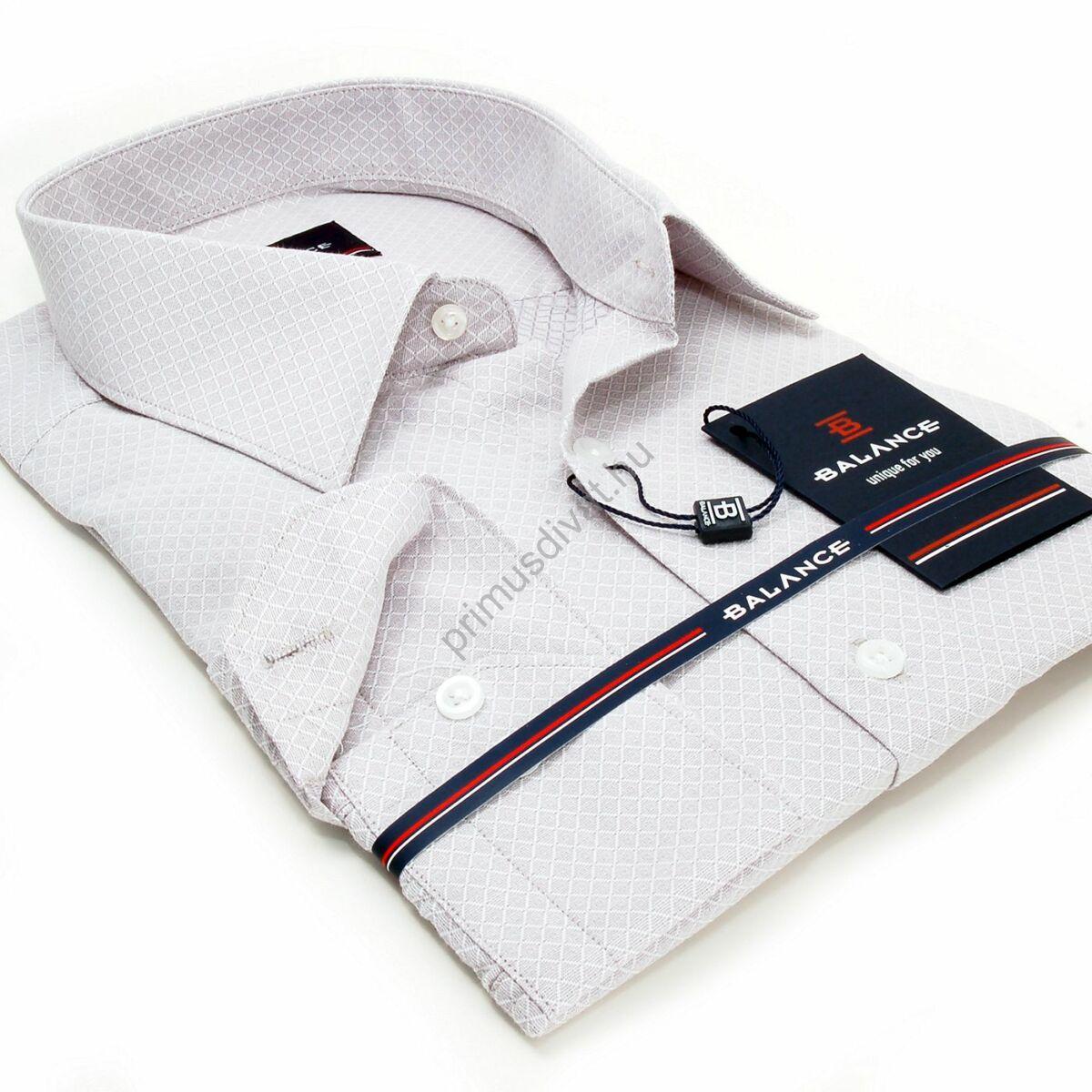 Balance anyagában szövött mintás, egyszínű világosszürke hosszú ujjú karcsúsított long-fit alkalmi ing