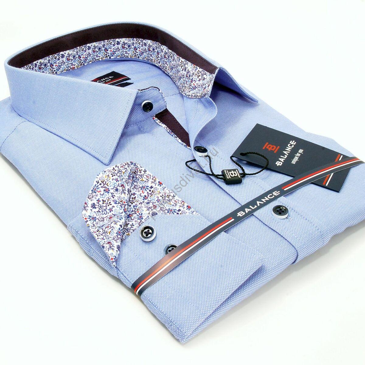 Balance strukturált felületű világoskék hosszú ujjú slim-fit ing, színes mintás betétekkel