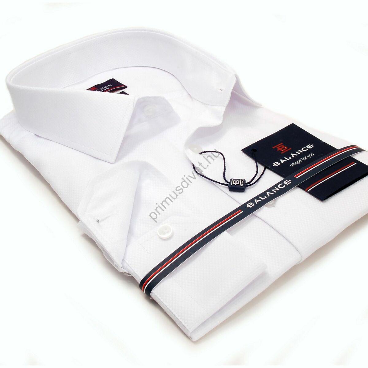 Balance anyagában szövött mintás egyszínű fehér hosszú ujjú slim-fit alkalmi ing