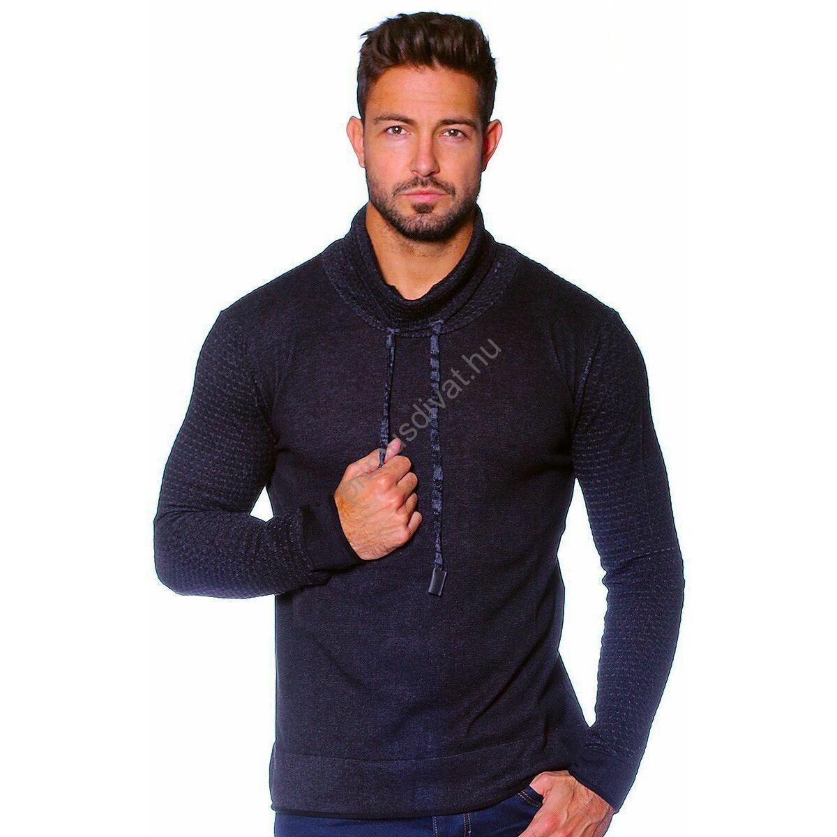 1f3293b133 Kép 1/2 - Balance kámzsás nyakú vékony kötött pamut pulóver, sötétkék