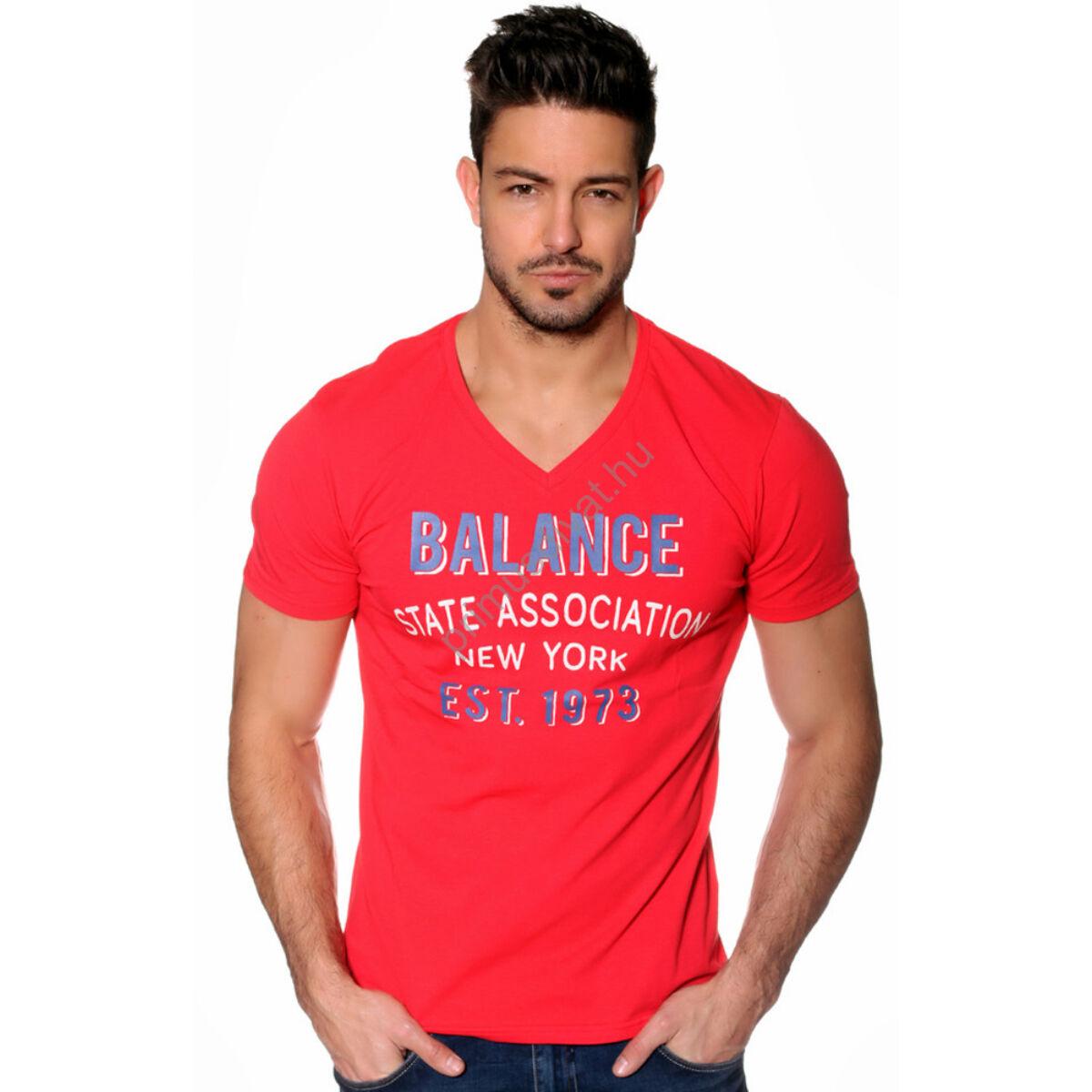 03362ae69b Kép 1/2 - Balance V nyakú, filmnyomott, rugalmas rövid ujjú póló, piros