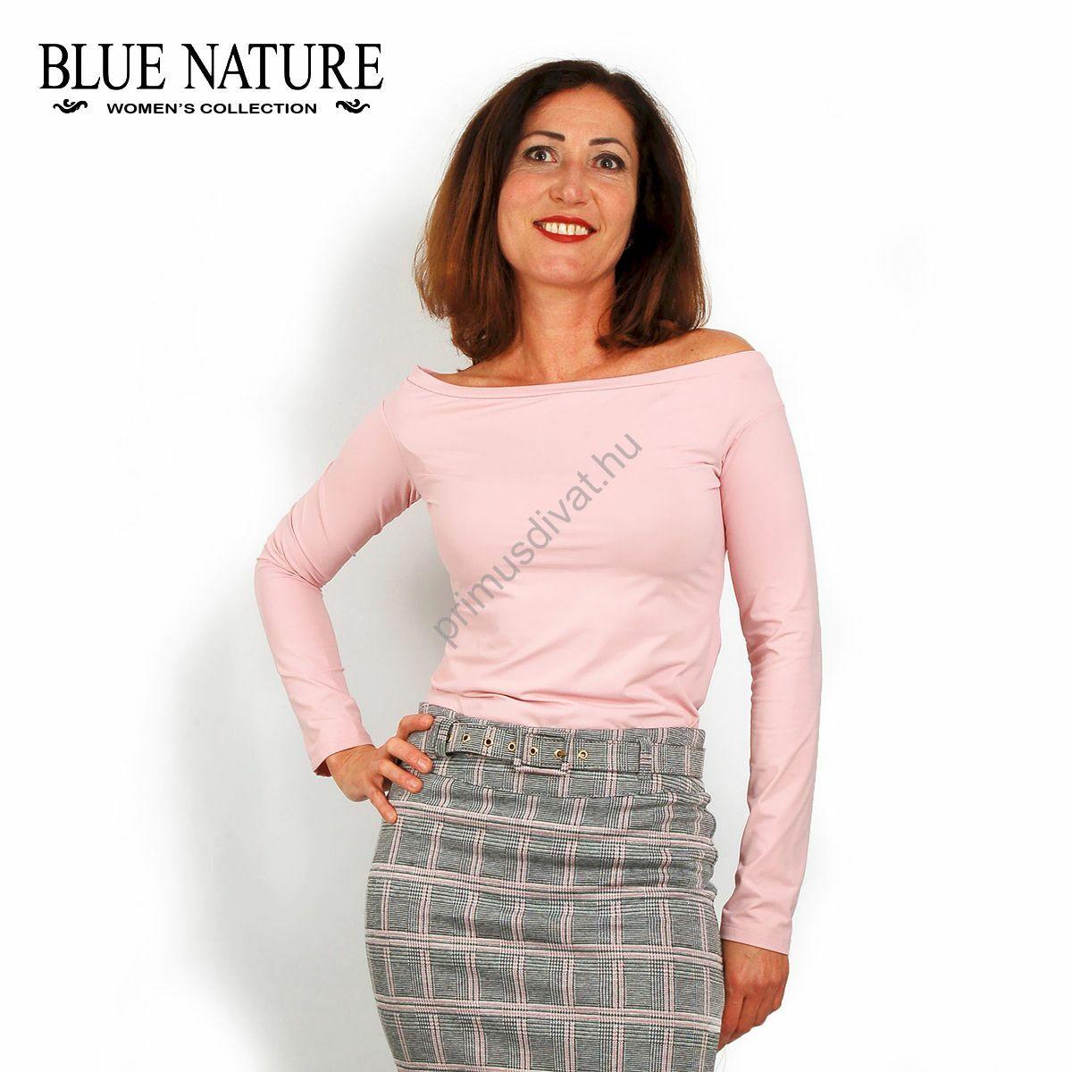 d7422598fe Kép 1/1 - Blue Nature csónaknyakú, rózsaszín hosszú ujjú felső, szűk,  normál fazon