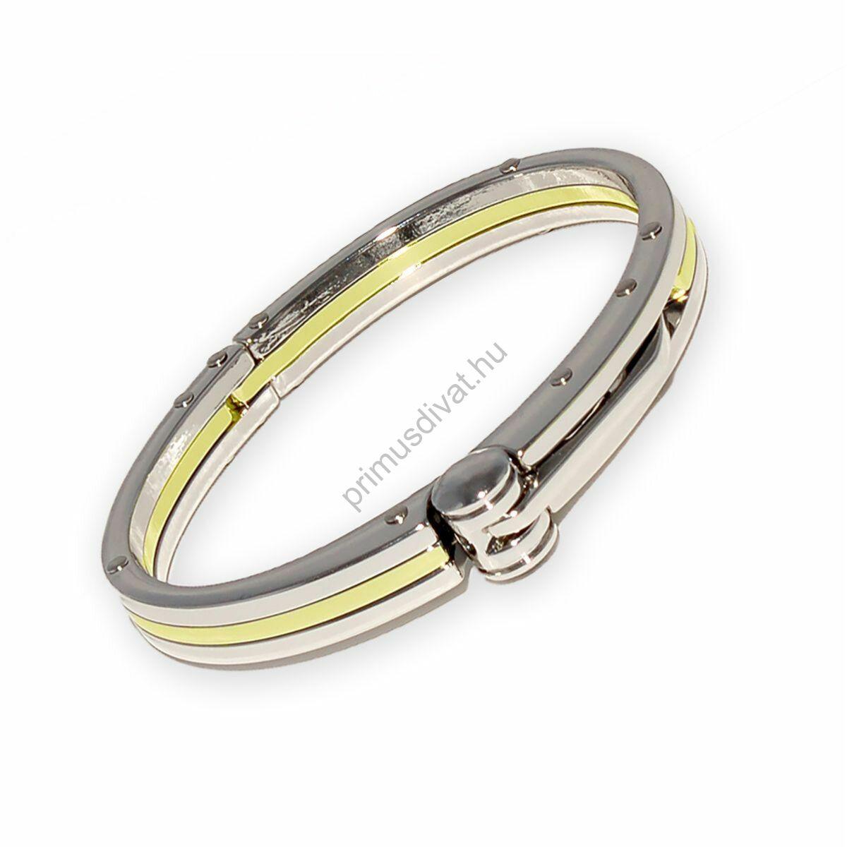 Ezüst színű rozsdamentes acél bilincs karkötő, arany betéttel