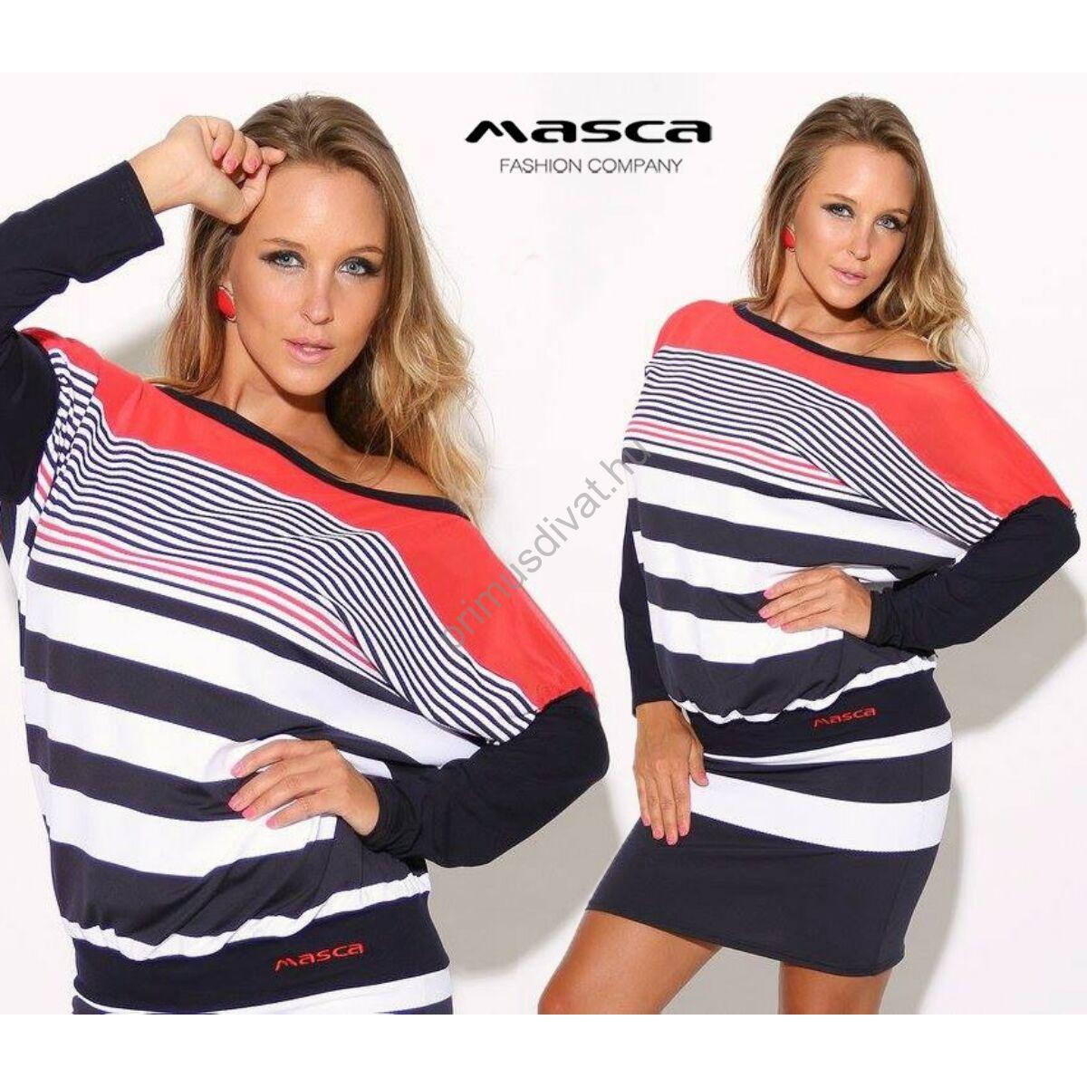 Masca Fashion kék-fehér-piros csíkos denevérujjú miniruha 56c3e699e8