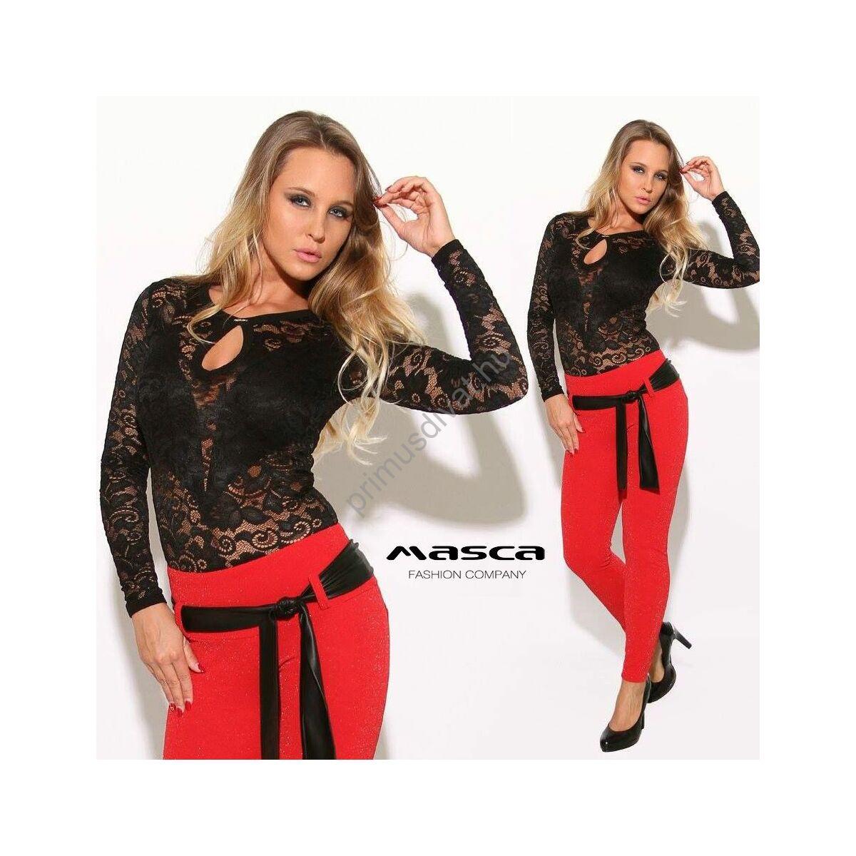 Masca Fashion csepp-kivágott rafináltan alábélelt fekete csipke body 43614e4a05