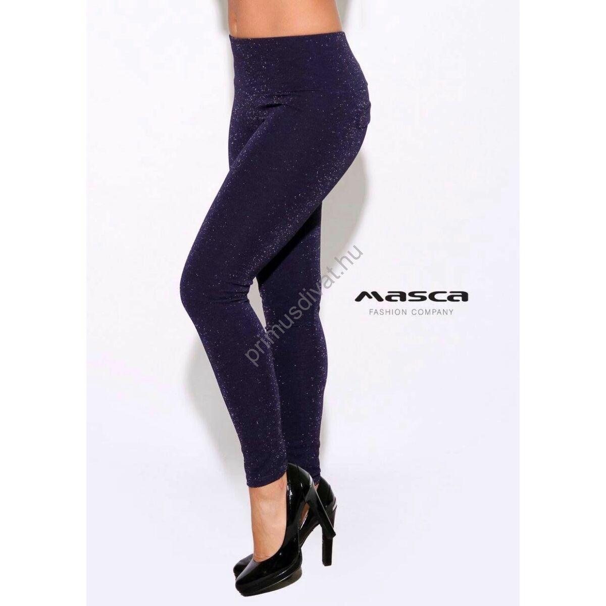 Masca Fashion magasított derekú, ezüst csillámos sötétkék leggings, cicanadrág