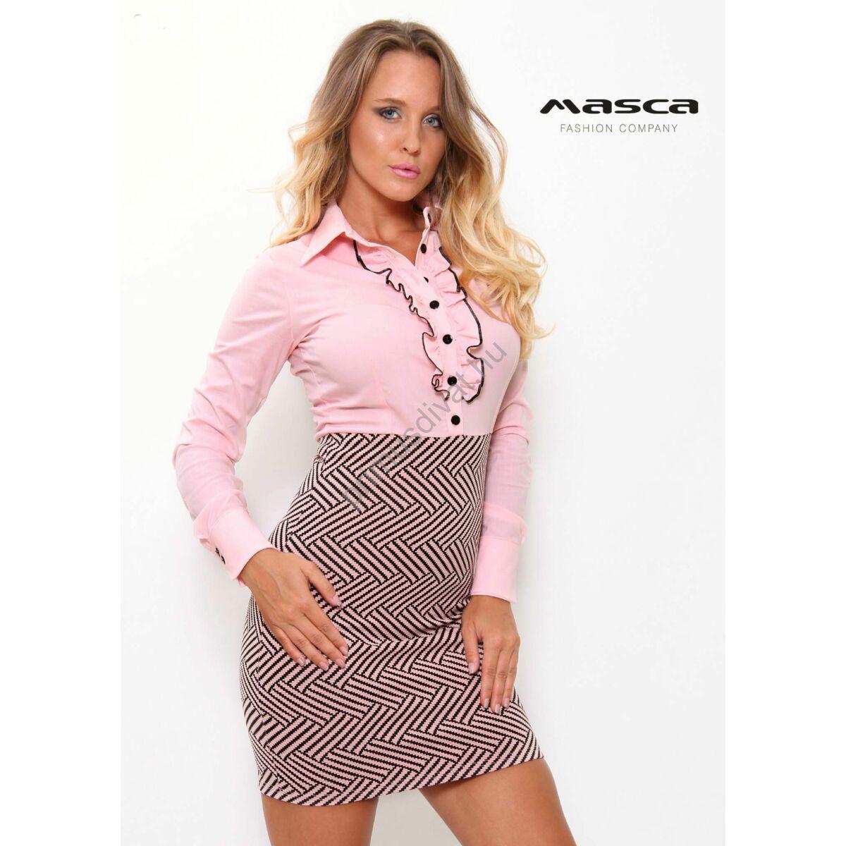 4da1010377 Kép 1/1 - Masca Fashion inggalléros, fodorszegélyes gombolópántos rózsaszín  rugalmas miniruha, fekete mintás alja-résszel