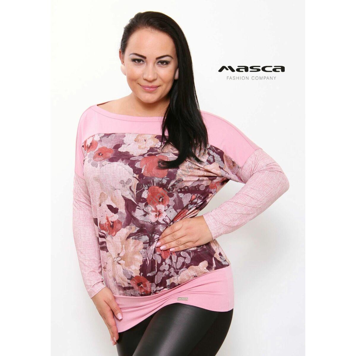 e540377c89 Kép 1/1 - Masca Fashion csónaknyakú, hosszú denevérujjú rózsaszín bő felső,  virágmintás betéttel