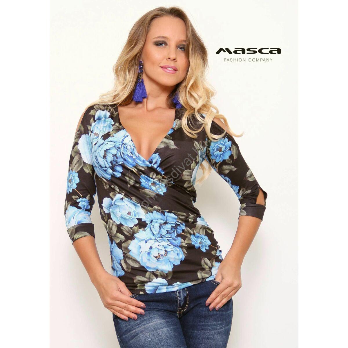 2dc06b671e Kép 1/1 - Masca Fashion átlapolt, ráncolt elejű háromnegyedes ujjú, nyitott  vállú kék virágmintás felső