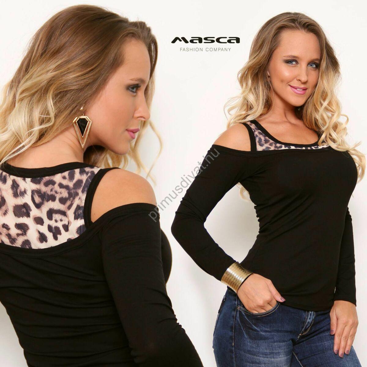 Kép 1 2 - Masca Fashion párducmintás trikópánt betétes nyitott vállú hosszú  ujjú fekete szűk felső be37d376fb