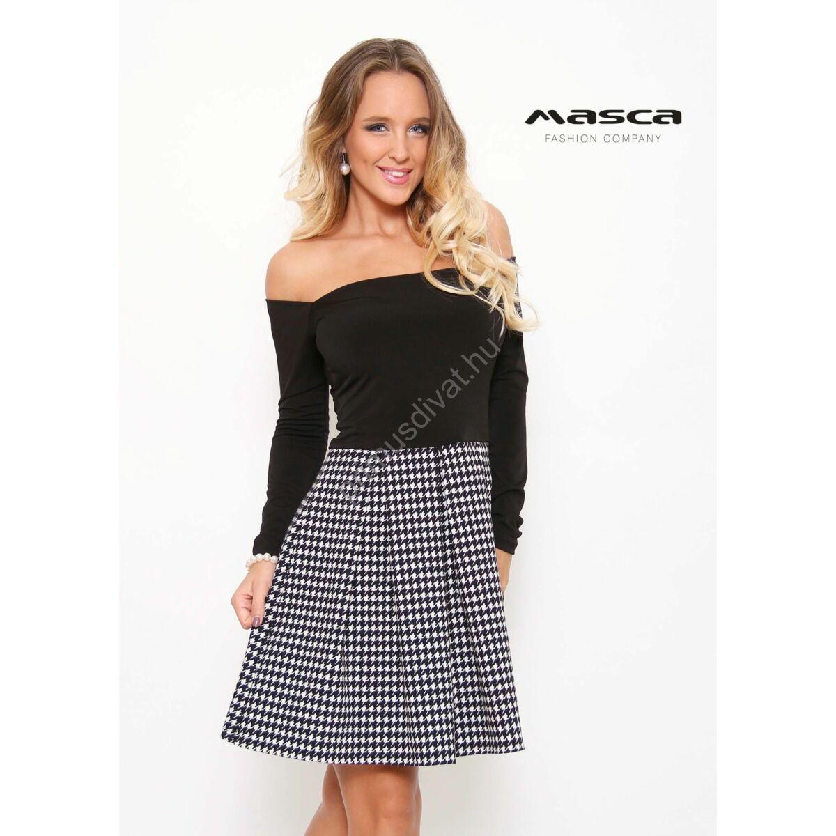 62837fffb Masca Fashion váll nélküli hosszú ujjú fekete felsőrészű, tyúklábmintás  loknis miniruha - Mf829-44