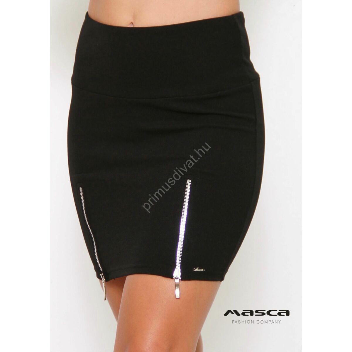 28184304fa Kép 1/1 - Masca Fashion magasított derekú fekete miniszoknya, elején ezüst  színű fém cipzár díszítéssel