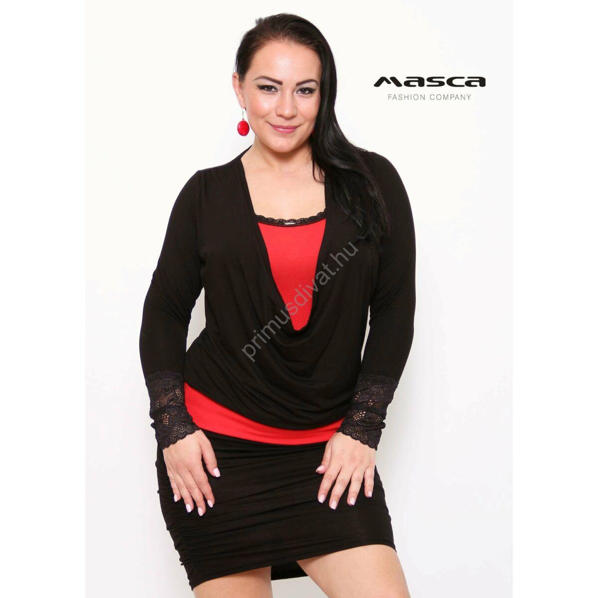 e5f2a7dda1 Kép 1/1 - Masca Fashion piros betétes kámzsanyakú fekete hosszú ujjú  miniruha, csipkeszegély díszítésekkel, gumiszalaggal ráncolt szoknyarésszel