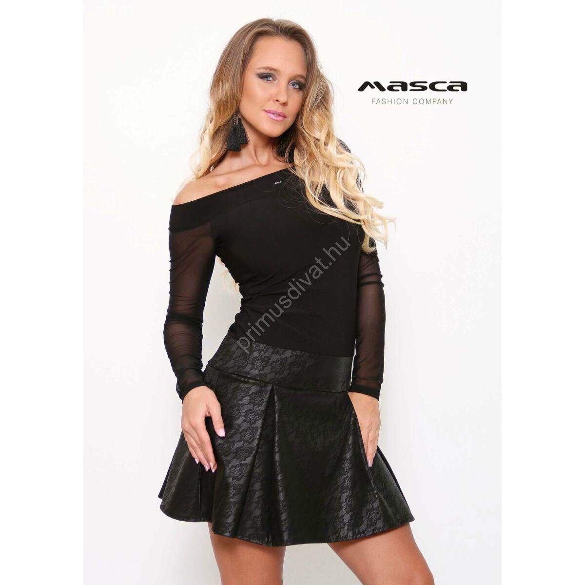 618b697824 Kép 1/1 - Masca Fashion csipkemintás műbőr loknis aljú, elasztikus muszlin hosszú  ujjú vállra húzós fekete alkalmi miniruha