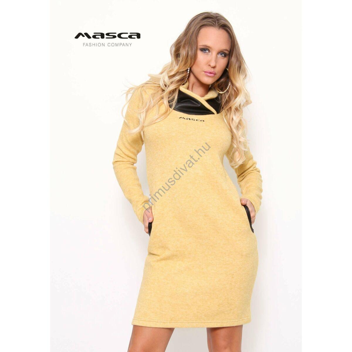 Kép 1 1 - Masca Fashion puha kötött hatású sárga-melange zsebes miniruha 883e502cab