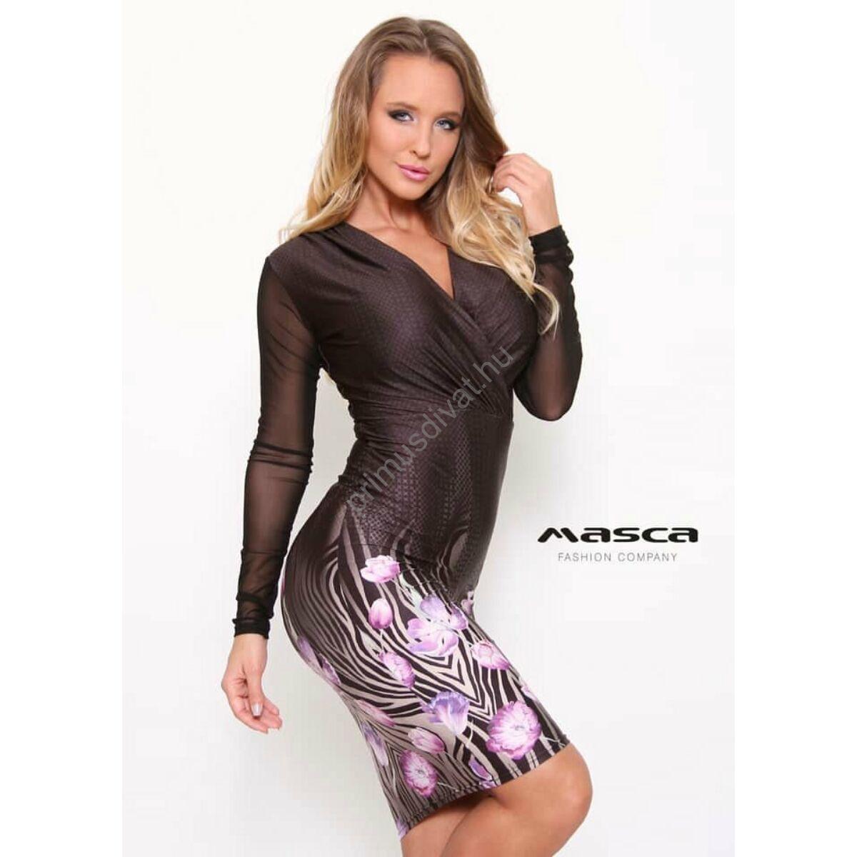 Masca Fashion rugalmas muszlin hosszú ujjú, átlapolt mellrészű szűk miniruha lilás virágokkal