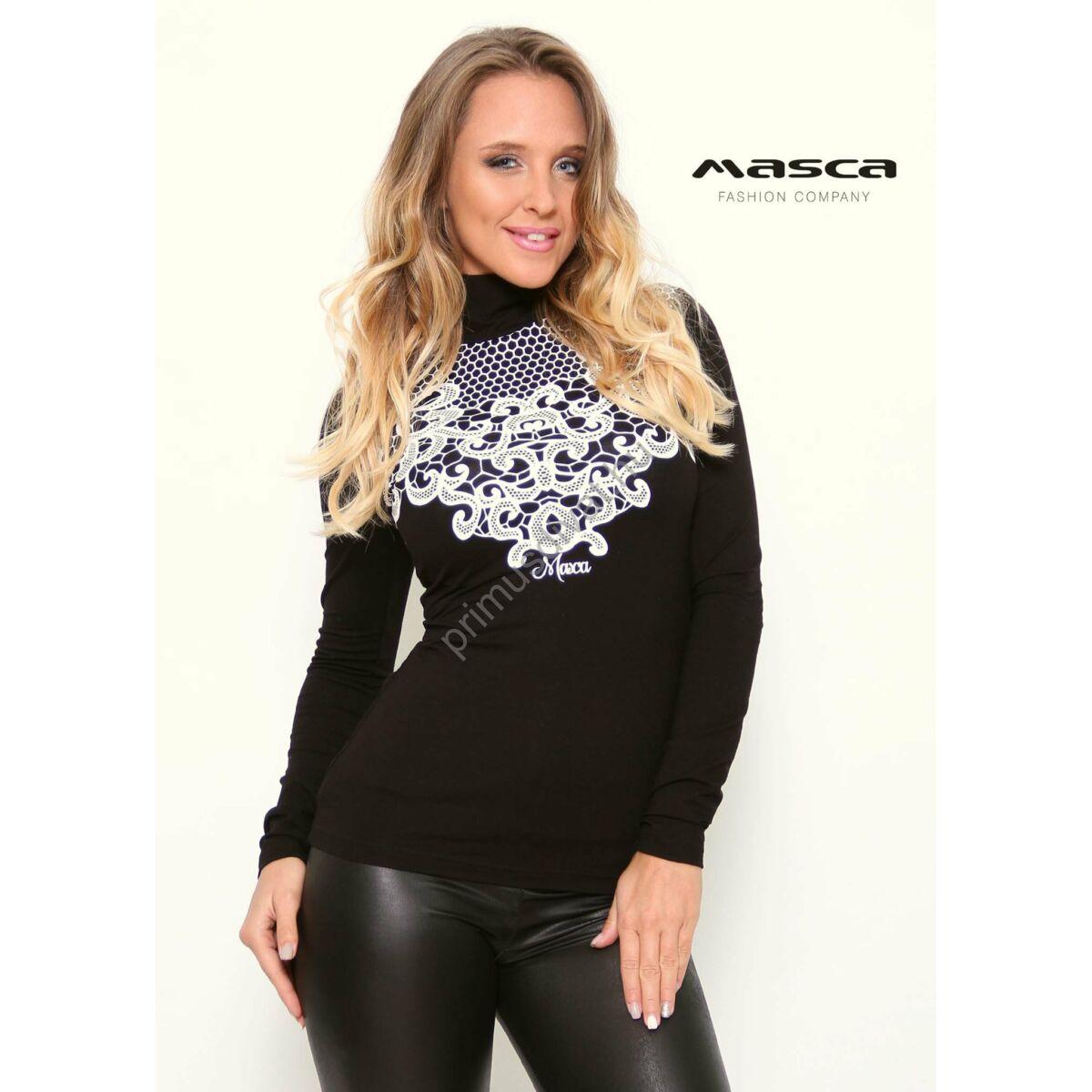 9669734c4b Kép 1/1 - Masca Fashion garbós nyakú szűk fekete felső, mellrészén nyomott  fehér mintával