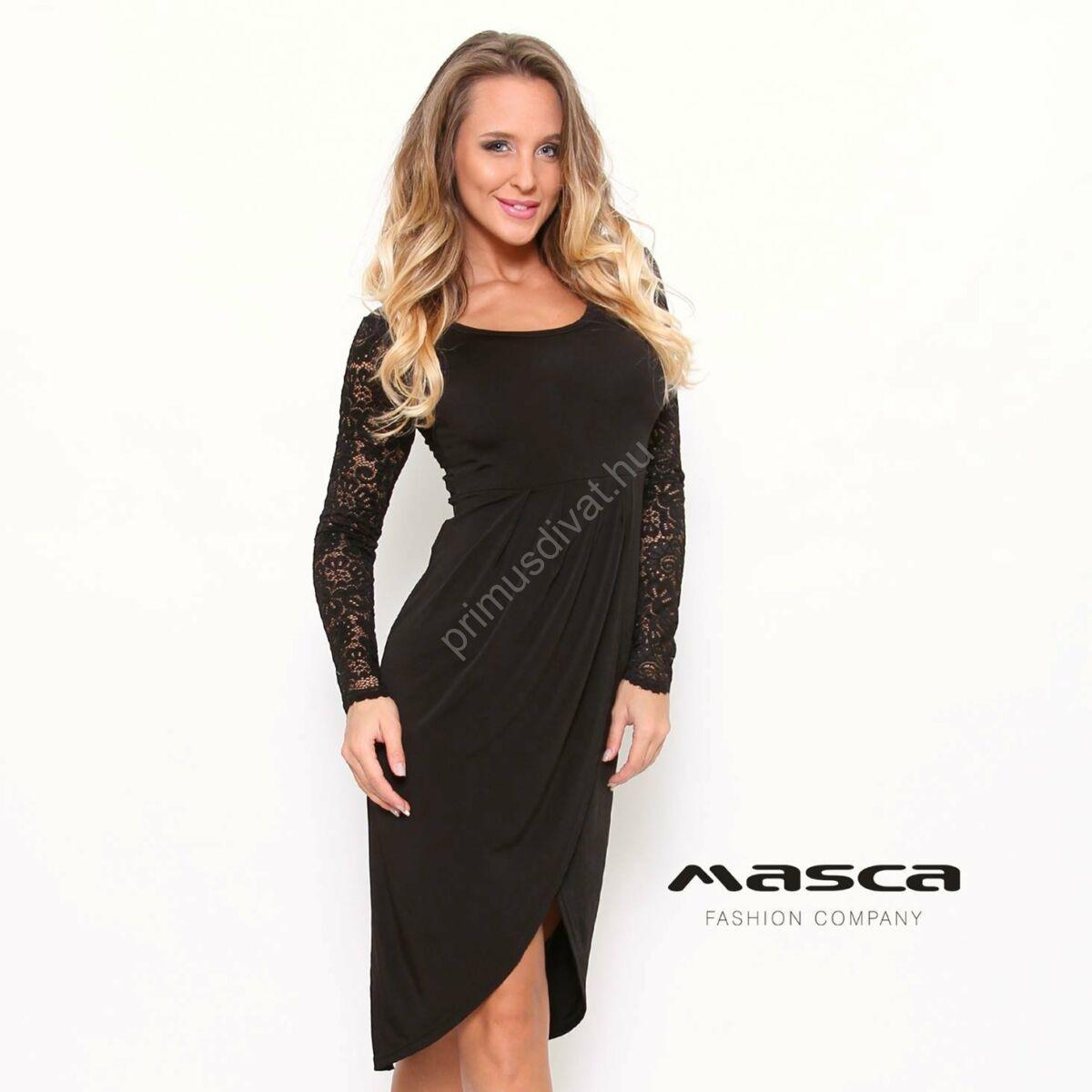 Masca Fashion átlapolt íves aljú hosszú csipkeujjú fekete maxi tunika 1a77e000ad