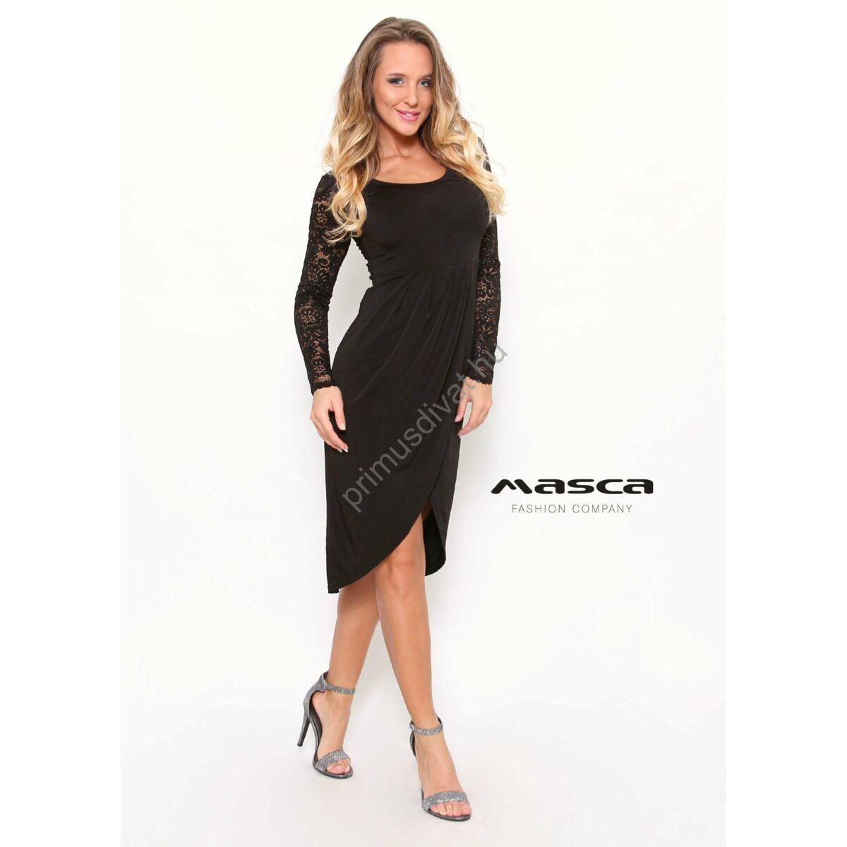Masca Fashion átlapolt íves aljú hosszú csipkeujjú fekete maxi tunika 4d1db7c138