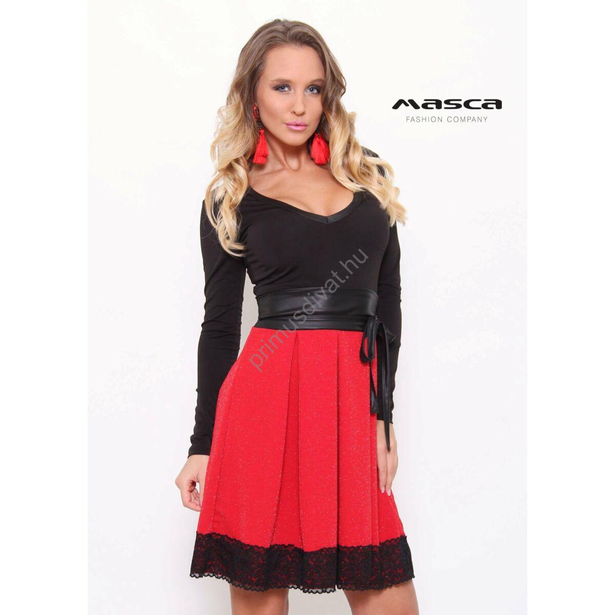 Masca Fashion piros loknis csipkeszegélyes rövid ujjú fekete alkalmi ... b041f165f3