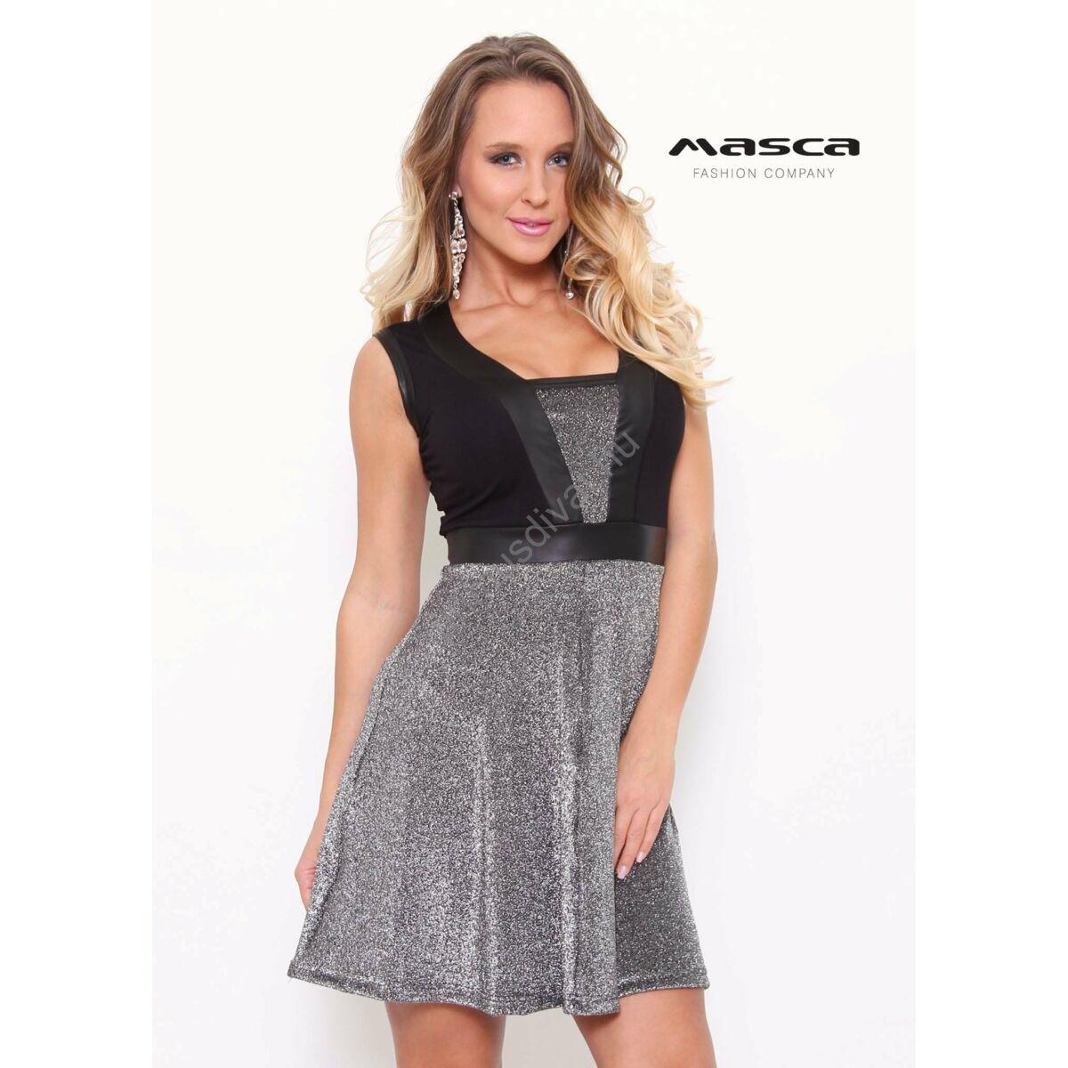 Kép 1 1 - Masca Fashion műbőr betétes dekoltázsú ujjatlan csillogó ezüst  loknis alkalmi miniruha 45b857eb3e