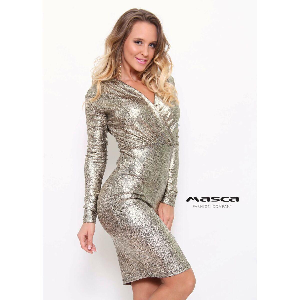 7dc37e4a69 Kép 1/1 - Masca Fashion átlapolt, ráncolt mellrészű hosszú ujjú csillogó  világos arany alkalmi miniruha