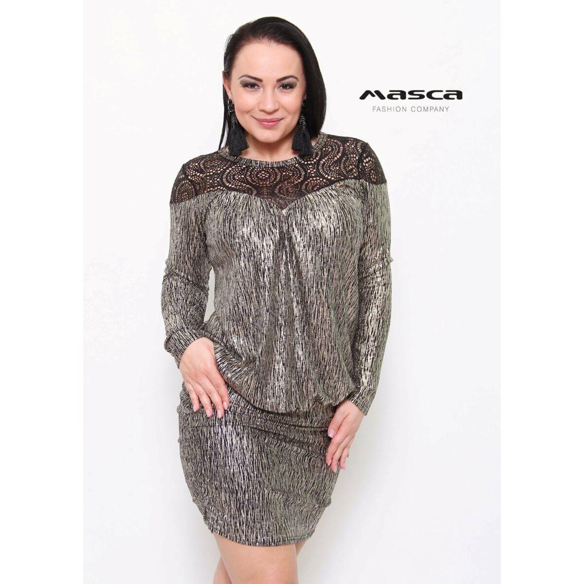 Kép 1 1 - Masca Fashion madeira betétes csillogó arany lezser alkalmi  miniruha d59d2948f5