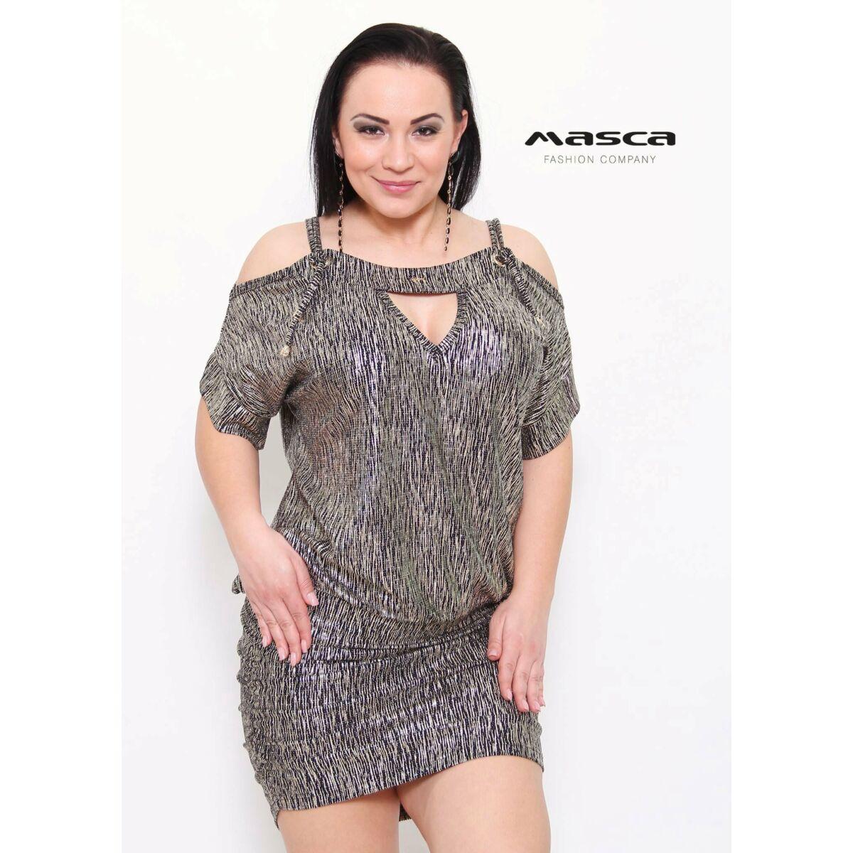 Kép 1 1 - Masca Fashion kötős nyitott vállú csillogó arany lezser alkalmi  miniruha b6a7455fff