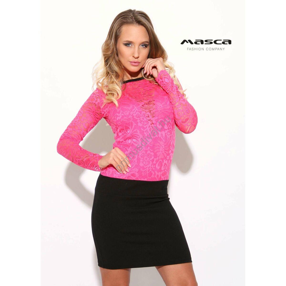 ccb573c801 Kép 1/1 - Masca Fashion csónaknyakú, pink csipkés felsőrészű hosszú ujjú  alkalmi miniruha, fekete aljjal