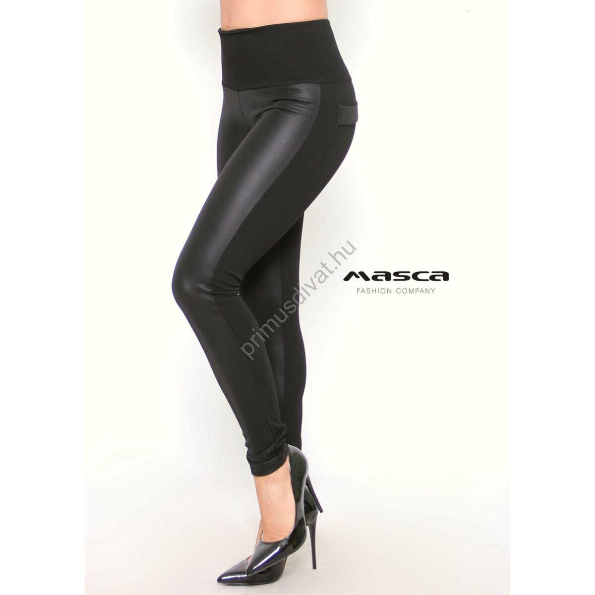 669564dfe Masca Fashion magas derekú műbőr elejű rugalmas fekete cicanadrág,  leggings, hátán zsebfedőkkel - Mf840-45