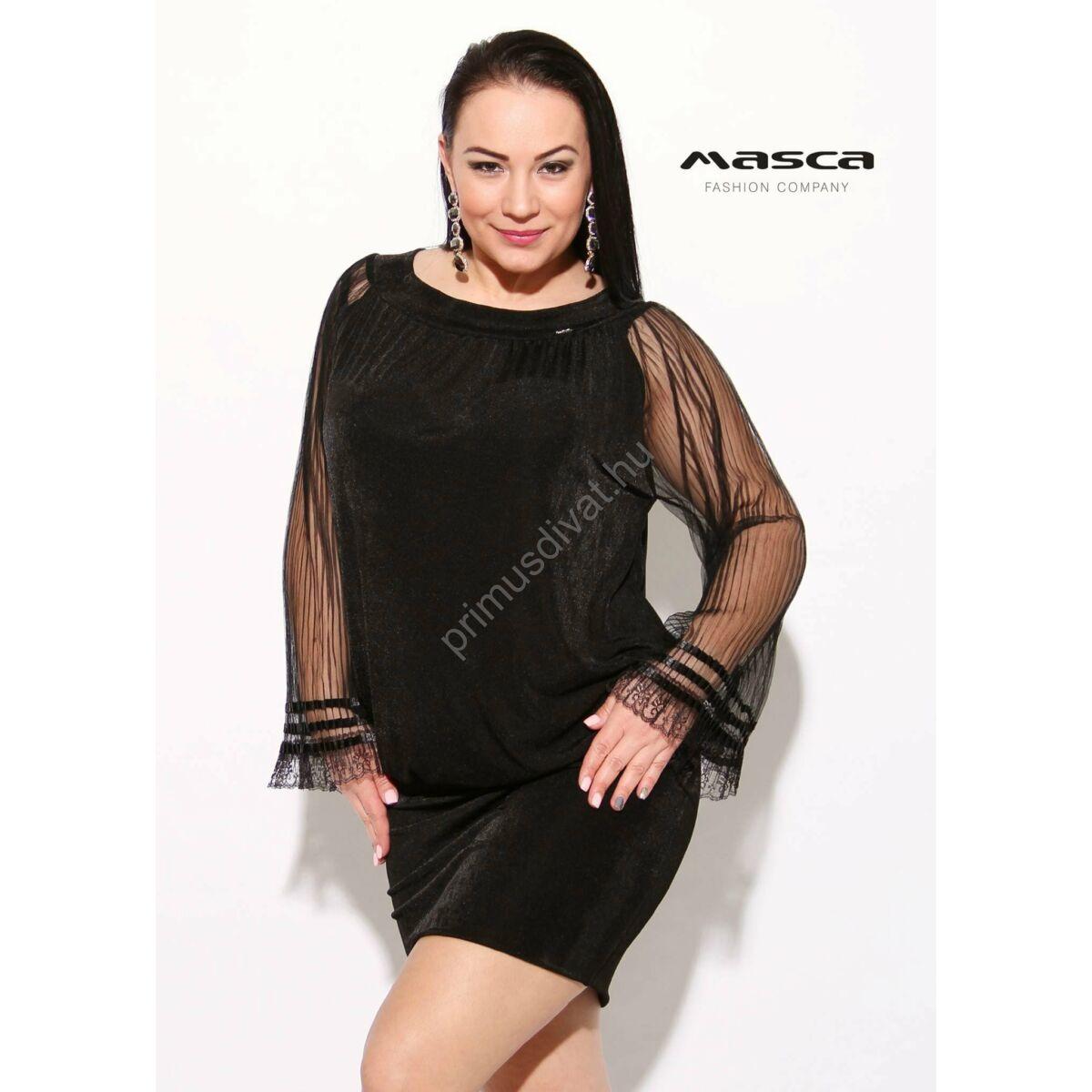 Kép 1 1 - Masca Fashion csipkés pliszírozott muszlin ujjú csillogó fekete  laza alkalmi tunika f8dd3300c9