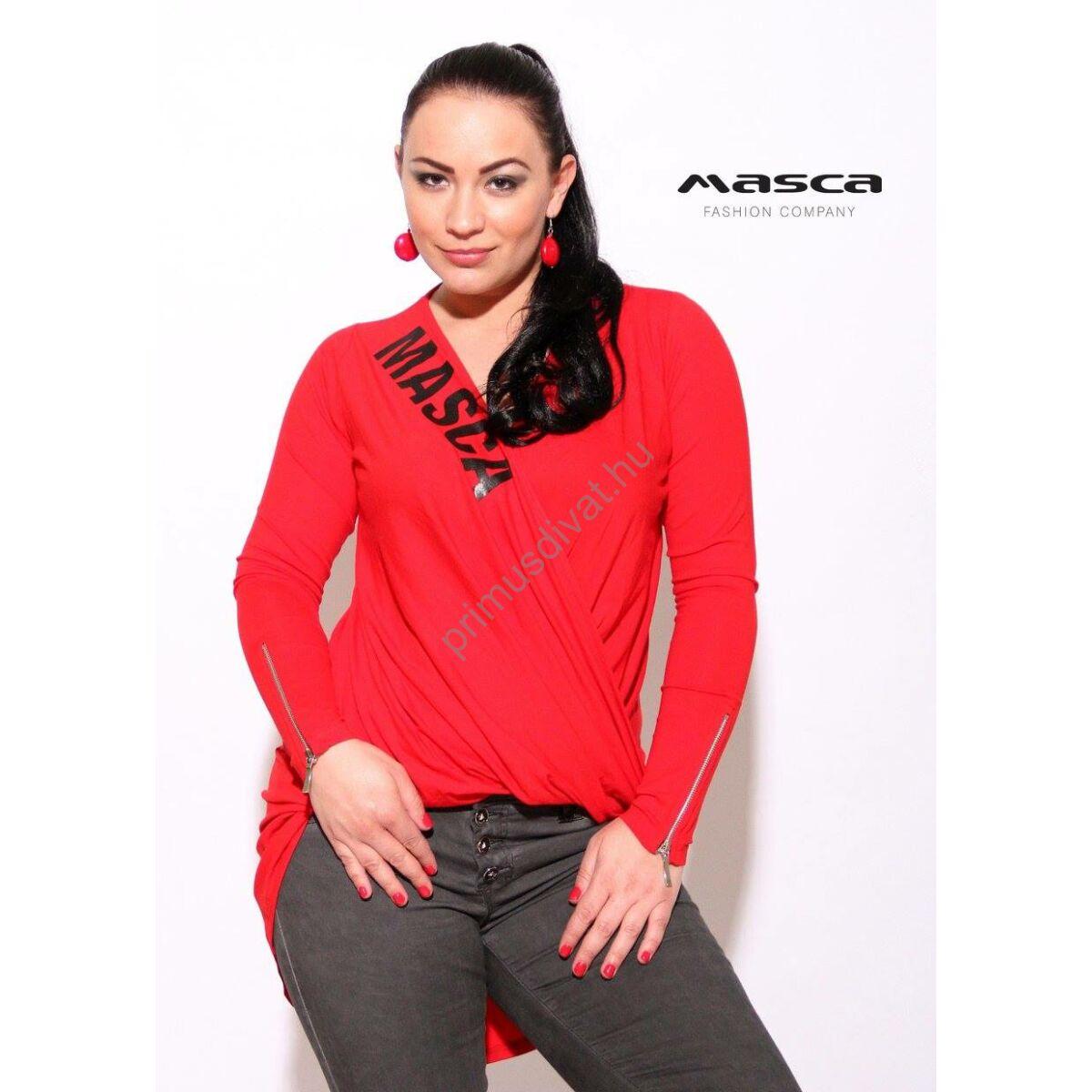 Kép 1 1 - Masca Fashion csavartan átlapolt elejű hosszú ujjú piros felső b9e3a8a0f5
