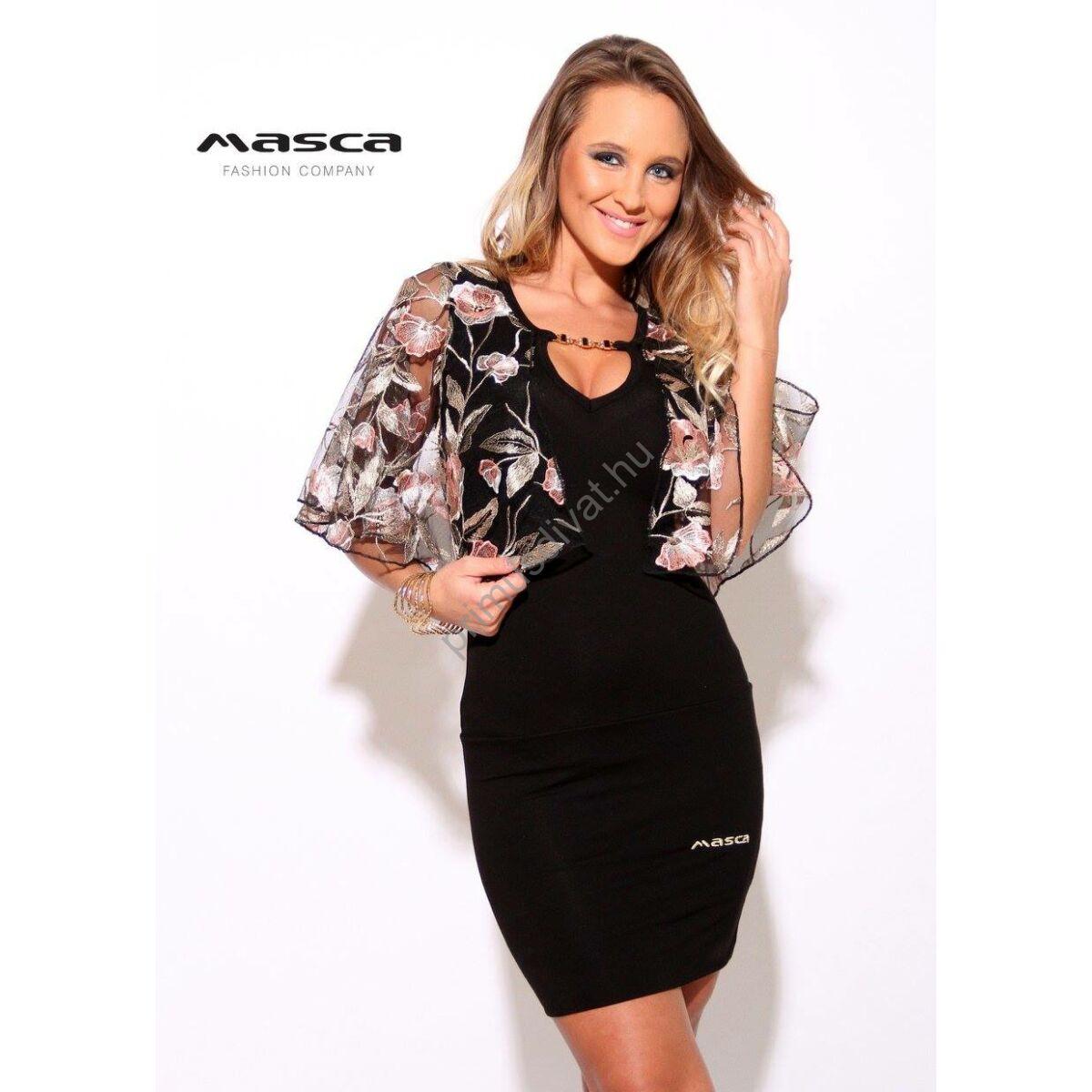 Kép 1 1 - Masca Fashion virágos hímzett tüll lepkeujjú fekete alkalmi ruha 01bd75b96f