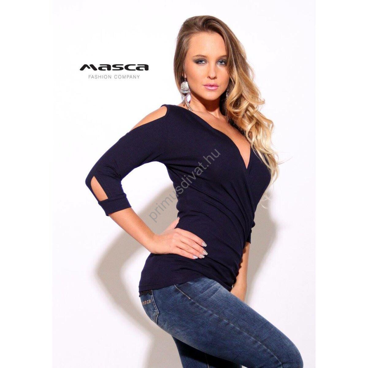 Masca Fashion átlapolt háromnegyedes ujjú nyitott vállú sötétkék felső 1004d8a933